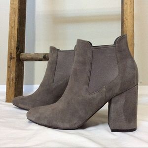 Cole Haan Whitlyn Suede Boot Chunky Block Heel EUC